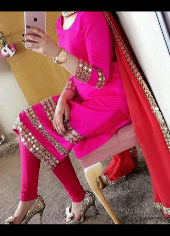 Pink Mirror Embellished Suit