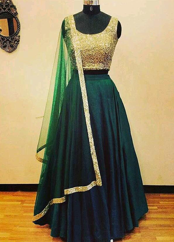 0de52cd9c9 Dark Green and Gold Sequins Lehenga Choli – Falakenoor Boutique