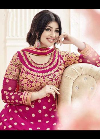 Ayesha Purple and Gold Embroidered Anarkali