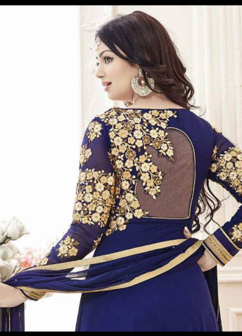 Ayesha Blue and Gold Embroidered Anarkali