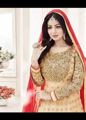 Ayesha Beige and Red Embroidered Anarkali