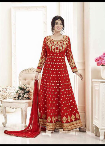 Ayesha Red and Gold Embroidered Anarkali