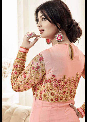 Ayesha Pink and Gold Embroidered Anarkali