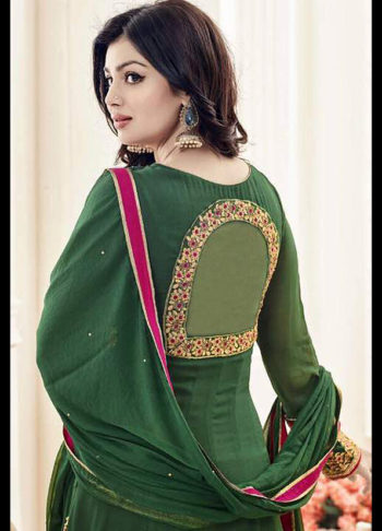 Ayesha Green and Gold Embroidered Anarkali