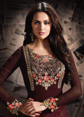 Brown and Pink Embroidered Palazzo Suit