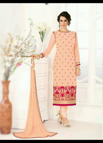 Peach Embroidered Straight Suit