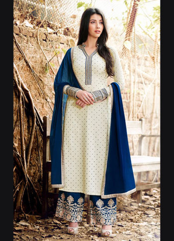 Offwhite and Blue Embroidered Straight Cut Suit