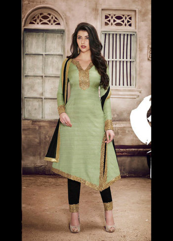Pista Green and Black Embroidered Suit