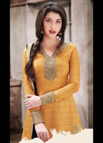 Mustard and Black Embroidered Suit