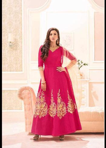 Gauhar Khan Pink Embroidered Anarkali