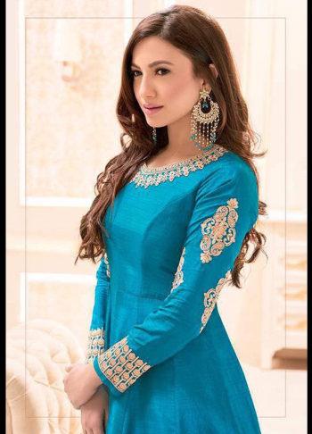Gauhar Khan Blue Embroidered Anarkali