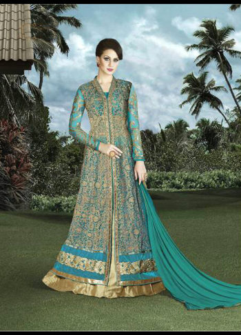 Teal and Gold Embroidered Lehenga / Pant Style Anarkali