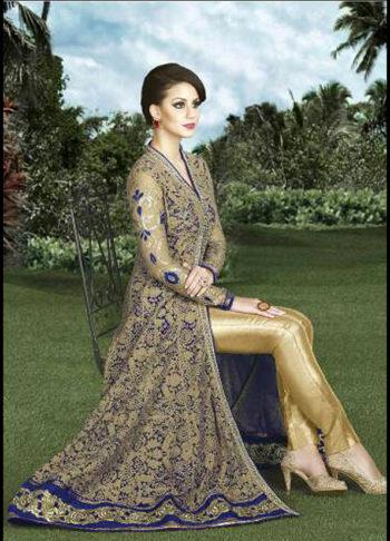Blue and Gold Embroidered Lehenga / Pant Style Anarkali