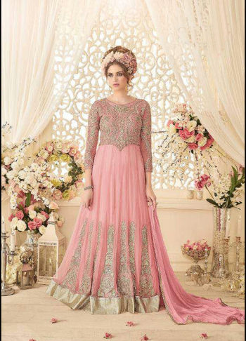 Pink and Gold Embroidered Trail Anarkali