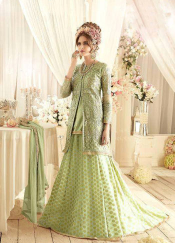 Green and Gold Embroidered Lehenga / Palazzo Suit