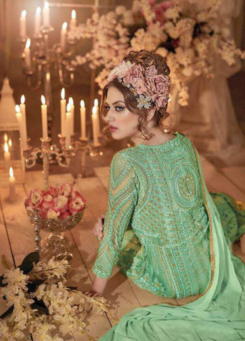 Green Heavy Embroidered Anarkali Gown