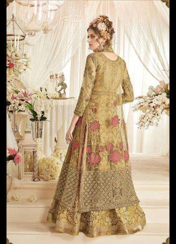 Beige Heavy Embroidered Jacket Style Anarkali