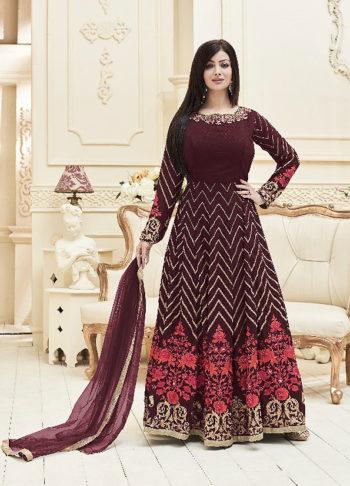 Ayesha Maroon Embroidered Anarkali