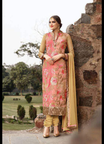 Pink and Beige Embroidered Straight Suit