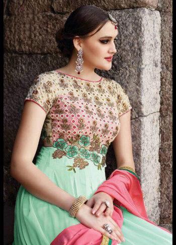 Light Green Floral Embroidered Anarkali