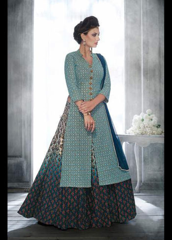 Light Blue Multicolor Embroidered Palazzo Suit