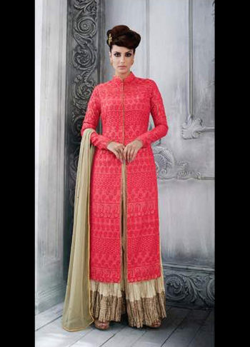 Red and Cream Embroidered Palazzo Suit