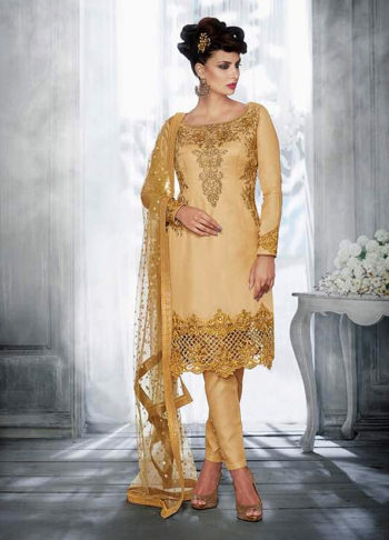 Beige and Gold Embroidered Straight Suit
