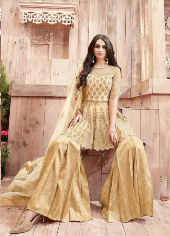 Beige Heavy Embroidered Palazzo Suit
