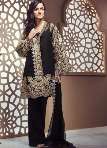 Black Embroidered Pakistani Style Suit