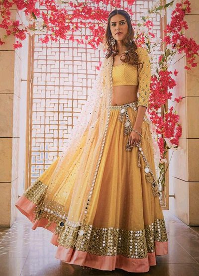 Yellow and White Mirror Work Lehenga Choli