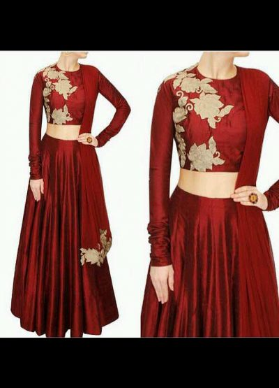 Maroon Embroidered Raw Silk Lehenga Choli