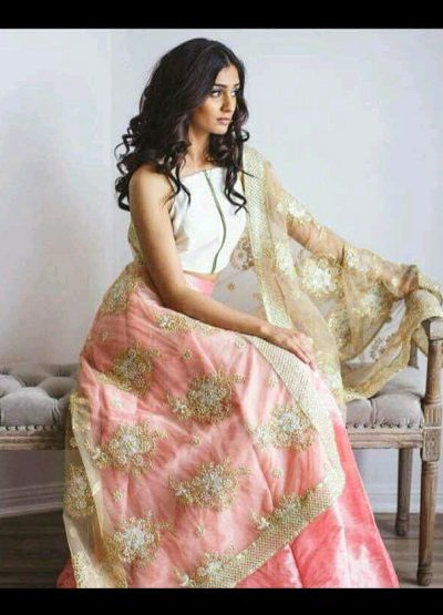 Peach and White Raw Silk Lehenga Choli