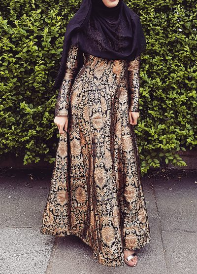 Black Pure Brocade Gown