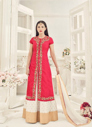 Gauhar Red and White Embroidered Palazzo Suit