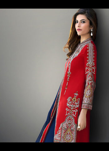 Red and Blue Embroidered Straight Pant Suit