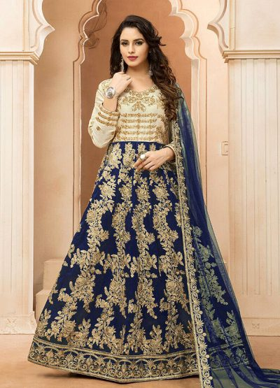 Blue and Cream Embroidered Anarkali