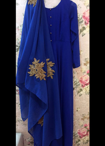 Royal Blue and Gold Embroidered Suit