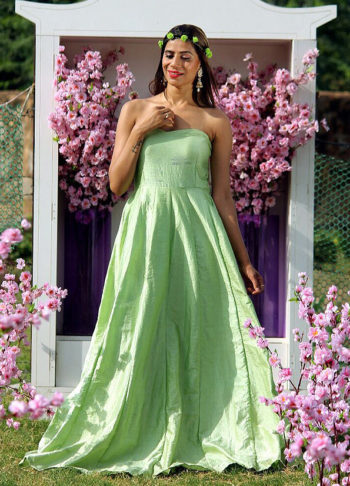 Mint Green Raw Silk Cape Style Gown