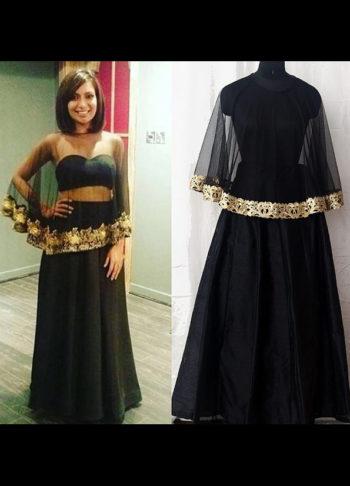 Black and Gold Cape Style Lehenga Choli