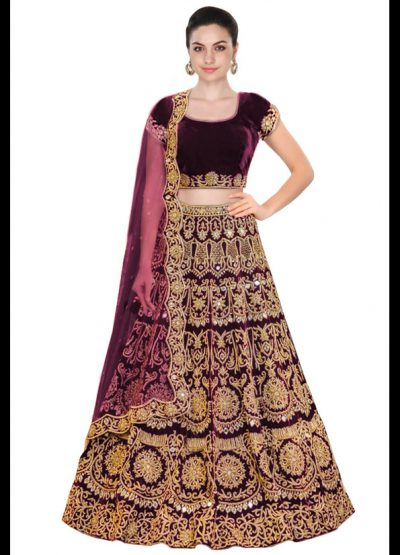Purple Heavy Embroidered Lehenga Choli
