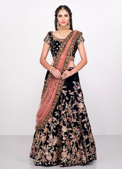 Navy Blue Floral Embroidered Lehenga Choli