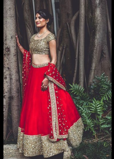 Red and Gold Embroidered Lehenga Choli
