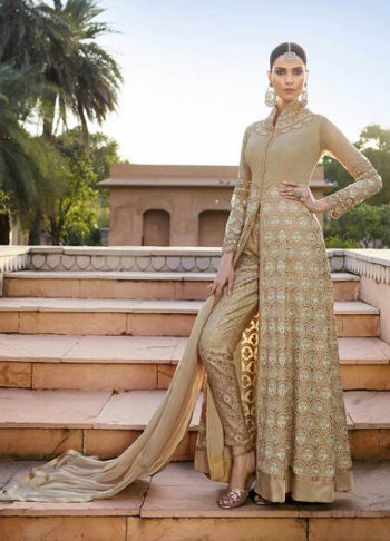 Beige and Gold Embroidered Pant Style Anarkali