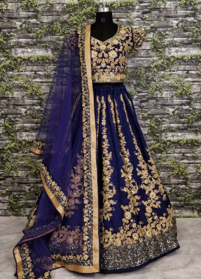 Dark Blue and Gold Embroidered Designer Lehenga Choli