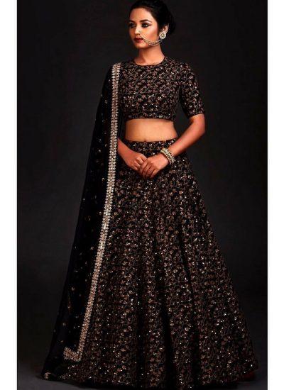 Black Sequins Embroidered Lehenga Choli
