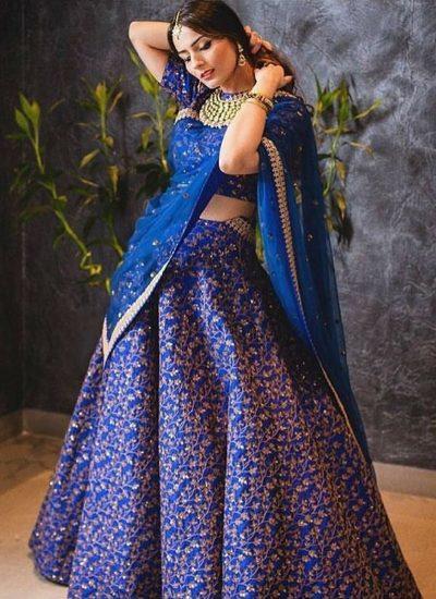 Blue Sequins Embroidered Lehenga Choli