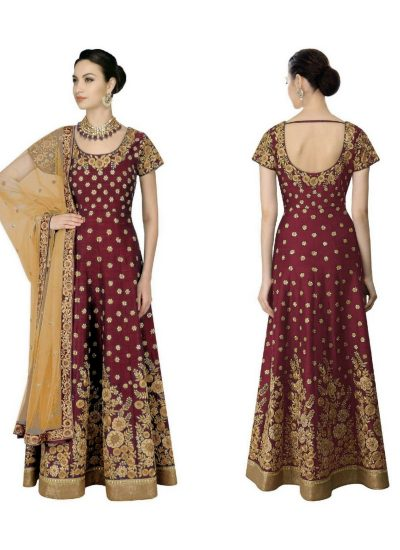 Maroon and Gold Embroidered Anarkali