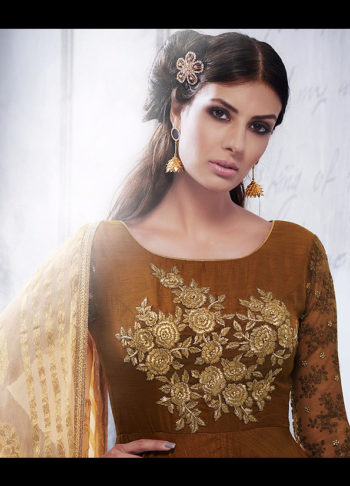 Chocolate Brown Floral Embroidered Suit