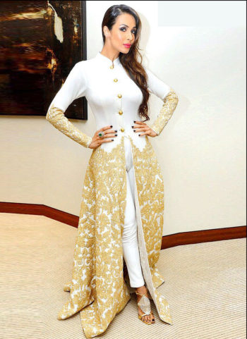 Malaika White and Gold Embroidered Pant Style Anarkali