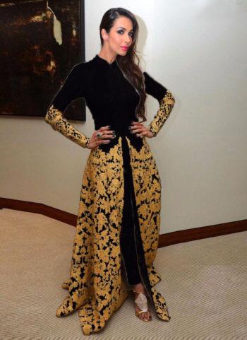 Malaika Black and Gold Embroidered Pant Style Anarkali